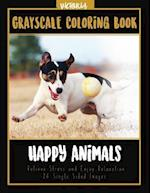 Happy Animals Grayscale Coloring Book
