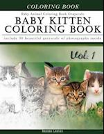 Baby Kitten Coloring Book Baby Animal Coloring Book Grayscale