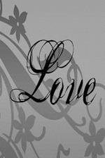 Wedding Journal Love Flowers Black Gray Grey