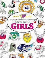 Cute Animals Decorative Design Coloring Book for Girls
