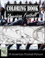 American Football Sketch Gray Scale Photo Adult Coloring Book, Mind Relaxation Stress Relief