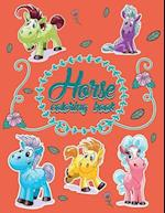 Horse World; Easy Coloring Book for Kids Toddler, Imagination Learning in School and Home