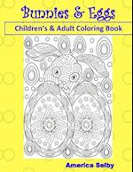 Bunnies and Eggs Children's and Adult Coloring Book