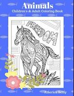 Animals Children's and Adult Coloring Book