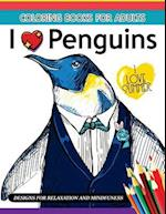 I Love Penguin Coloring Book for Adults