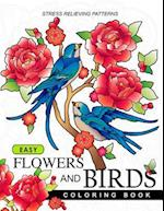 Easy Flowers and Birds Coloring Book