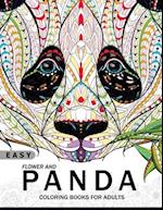 Easy Flower and Panda Coloring Book for Adults