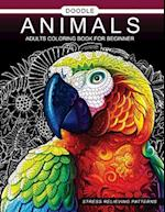 Doodle Animals Adults Coloring Book for Beginner
