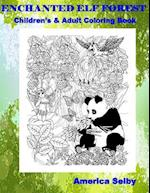 Enchanted Elf Forest Children's and Adult Coloring Book