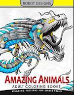 Amazing Animal Adult Coloring Book Robot Design