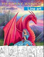 Fantasy World. Line Art Coloring Book
