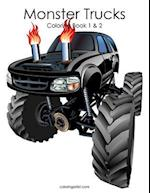 Monster Trucks Coloring Book 1 & 2