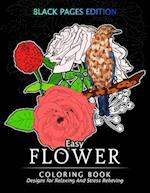 Easy Flower Coloring Book Black Pages Edition