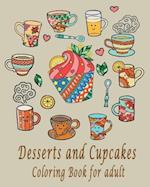 Desserts and Cupcakes Coloring Book for Adult