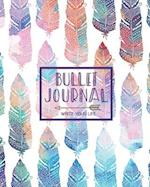 Bullet Journal Dot Grid for 90 Days, Numbered Pages Quarterly Journal Diary, Bohemian Feather African Colorful Tribal
