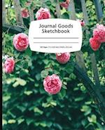 Journal Goods Sketchbook - Green Pink Rose