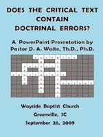 Does The Critical Text Contain Doctrinal Errors? af D. a. Waite