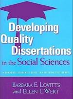 Developing Quality Dissertations in the Social Sciences af Barbara E. Lovitts, Ellen L. Wert