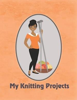 My Knitting Projects: Modern Knitting Woman With Medium Brown Skin Tone on an Orange Background, Glossy Finish