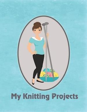 My Knitting Projects: Modern Knitting Woman With Brunette Hair on a Blue Background, Glossy Finish