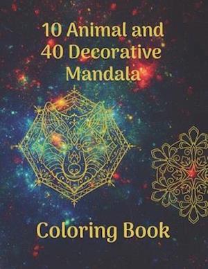 10 Animal and 40 Decorative Mandala Coloring Book