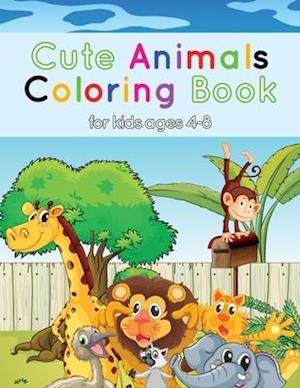 Cute Animals Coloring Book For Kids Ages 4-8