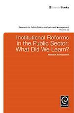Institutional Reforms in the Public Sector (RESEARCH IN PUBLIC POLICY ANALYSIS AND MANAGEMENT, nr. 22)
