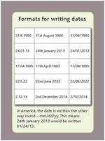 Tips Cards: Formats for Writing Dates