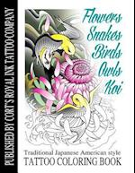 Flowers, Snakes, Birds, Owls and Koi Coloring Book