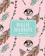 90 Days Blank Bullet Journal, Dated Notebook 8x10 150 P, Cute Ethnic Boho Pastel Mint Pink Pattern
