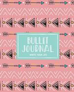90 Days Blank Bullet Journal, Dated Notebook 8x10 150 P, Cute Ethnic Bohemian Arrow Mint Pink Pattern