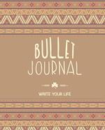 90 Days Blank Bullet Journal, Dated Notebook 8x10 150 P, Light Brown Hippie Boho Cover