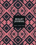 90 Days Blank Bullet Journal, Dated Notebook 8x10 150 P, Ethnic Red Pink Black Pattern