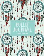 Bullet Journal Dotted Grid Dated Notebook, Mint Green Tribal Boho Dream Catcher