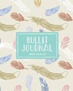 Bullet Journal Dotted Grid Dated Notebook, Mint Brown Bohemian Fly Feather