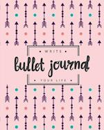 Bullet Journal Dotted Grid Dated Notebook, Pink Mint Tribal Arrow Drawing
