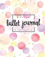 Bullet Journal Dotted Grid Dated Notebook, Gold Glitter Sweet Pastel Pink Bubble Watercolor