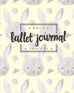 Bullet Journal Dotted Grid Dated Notebook, Cute Rabbit Bunny Pattern in Yellow Grey Cover