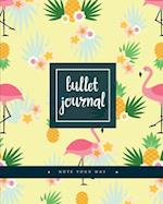 Bullet Journal Dotted Grid Dated Notebook, Flamingo in Yellow Pineapple Flower Garden Pattern