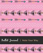Dot Grid Bullet Journal, Daily Dated Notebook Diary, Pretty Tribal Bohemian Ethic Pattern