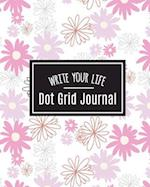 Dot Grid Bullet Journal, Daily Dated Notebook Diary, White Pink Daisy Flower Bloom