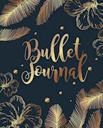 Bullet Journal Dot Grid Paper, Daily Dated Notebook Diary, Black Gold Flower Cover