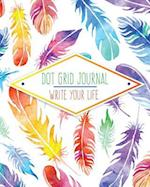 Dot Grid Bullet Journal, Daily Dated Notebook Diary, Colorful Feather Watercolor