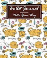 Bullet Journal Dot Grid, Daily Dated Notebook Diary, Cartoon Cat Kitten Power Drawing