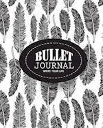 Bullet Journal Dot Grid, Daily Dated Notebook Diary, Black and White Feather Pattern