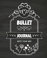 Bullet Journal Dot Grid, Daily Dated Notebook Diary, Classic Black Chalkboard Floral
