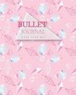 Bullet Journal Dot Grid, Daily Dated Notebook Diary, Pink Modern Geometric Diamond Hexagonal