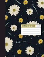 Daisy Notebook in Gray Background - Wild Ruled Papaer
