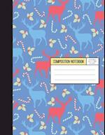 Wide Ruled Composition Notebook - Christmas Party with Blue and Red Reindeer