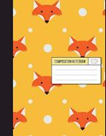 Wide Ruled Composition Notebook - Baby Fox in Orange Background